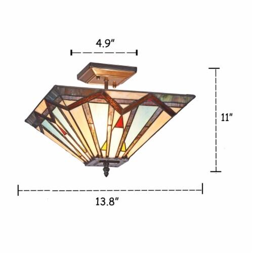 Lighting MANTON Mission 2 Light Blackish Bronze Semi-flush Ceiling Fixture 14  Wide Perspective: top