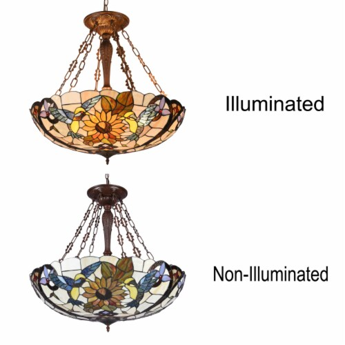 Lighting SOAR Tiffany-style Dark Antique Bronze 4 light Animal Ceiling Pendant 28  Wide Perspective: top