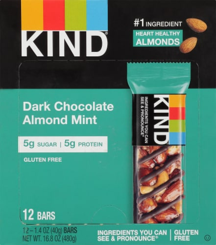 KIND Dark Chocolate Almond Mint Bars Perspective: top