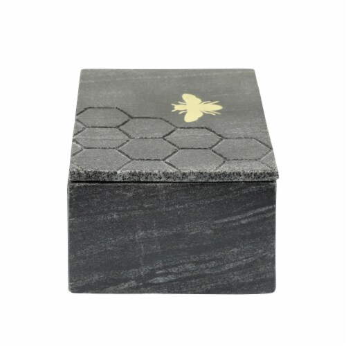Marble 7X5 Marble Box W/ Bee Accent, Black Perspective: top