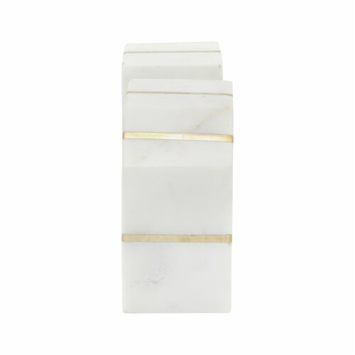 S/2 Marble 5 H Polished Bookends W/Gold Inlays,Wht Perspective: top