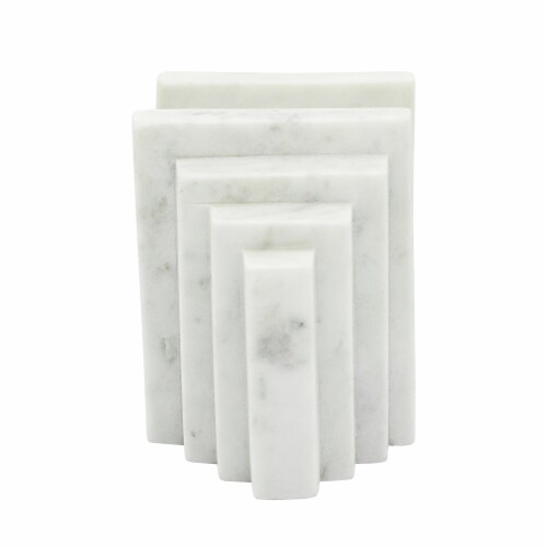 S/2 Marble 5 H Block Bookends, White Perspective: top