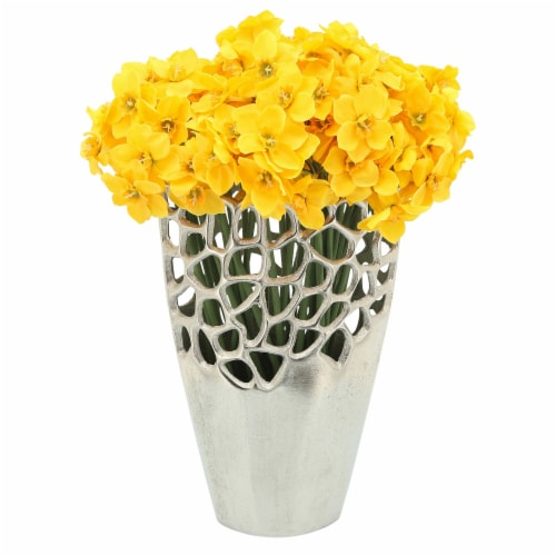 Metal 12 H Cut-Out Vase, Silver Perspective: top