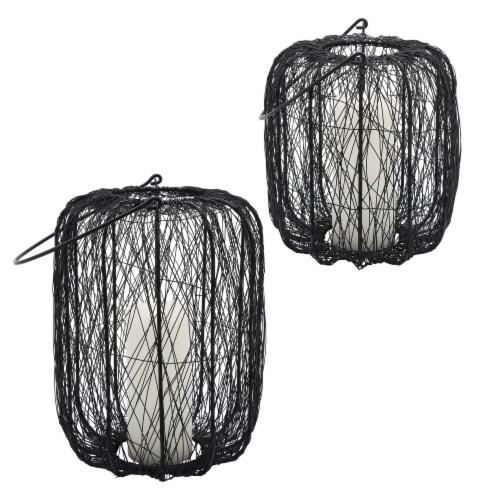 Metal, 10 H Wire Lantern, Black Perspective: top