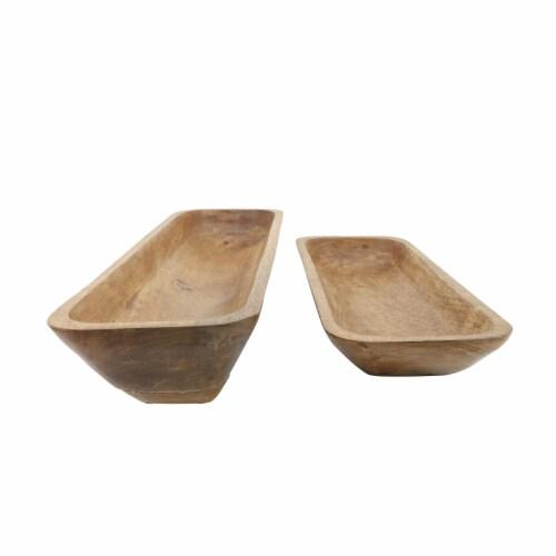 Wood, S/2 23/30 Rectangular Bowls, Brown Perspective: top