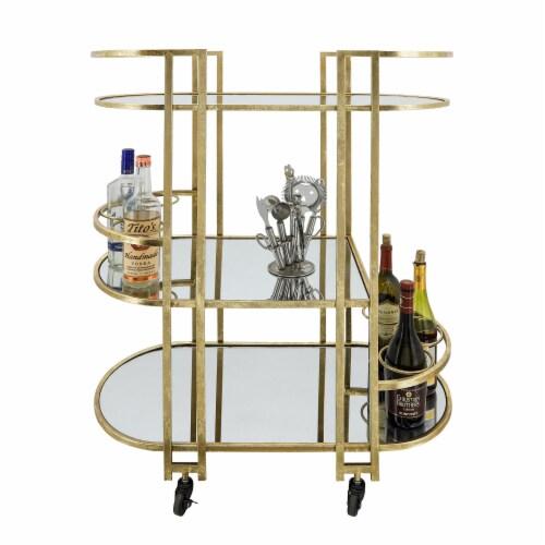 Metal, 37 H 3-Layered Bar Cart, Gold Perspective: top