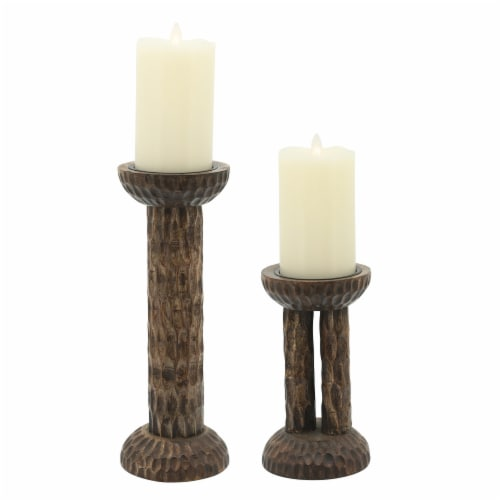 Wood, 12 H Hammered Candle Holder, Brown Perspective: top