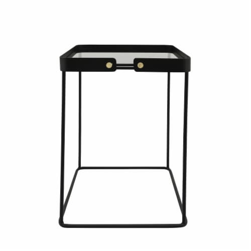 Metal, S/2 20/22 H Square Side Tables W/ Smokey Gl Perspective: top