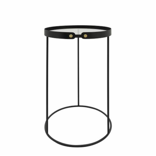 Metal, S/2 21/23  H Round Side Tables W/ Smokey Gl Perspective: top