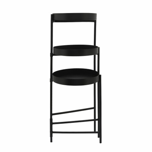 Metal, 32 H 3-Layered Plant Stand, Black Perspective: top
