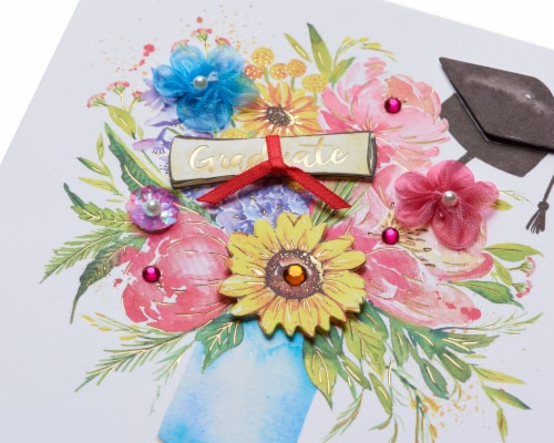 Papyrus Graduation Card (Floral Cap) Perspective: top