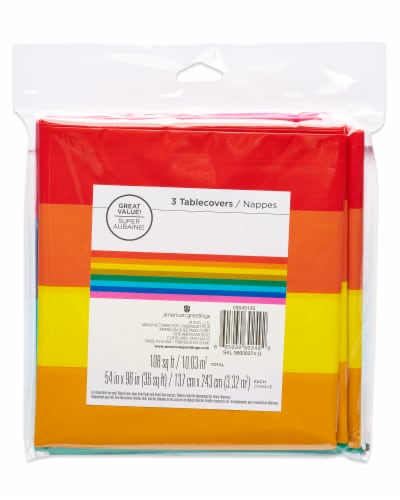 American Greetings Rainbow Plastic Table Covers Perspective: top