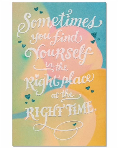 American Greetings Romantic Birthday Card (Right Place Right Time) Perspective: top