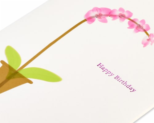 Papyrus Birthday Card (Pink Orchid) Perspective: top