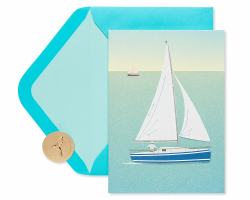Papyrus Birthday Card (Sailboat) Perspective: top