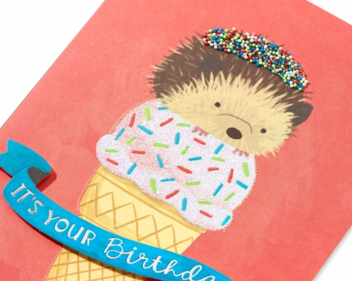 Papyrus #44 Birthday Card (Hedgehog) Perspective: top