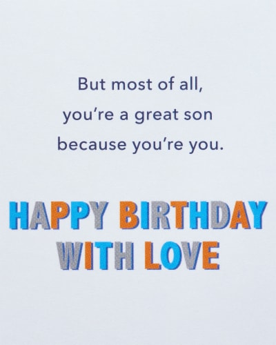 American Greetings #28 Birthday Card for Son (To A Great Son) Perspective: top