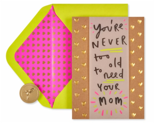 Papyrus #57 Mother's Day Card (Never Too Old) Perspective: top