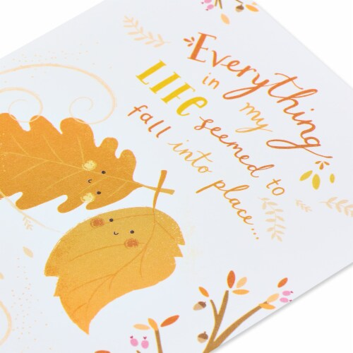 American Greetings Romantic Thinking of You Card (Fall Leaves) Perspective: top