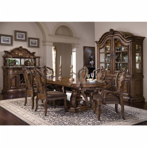 Home Fare San Mateo China Cabinet in Mahogany Brown Wood Perspective: top