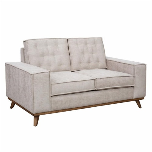 Welt Trim Upholstered Wood Farmhouse Loveseat Perspective: top