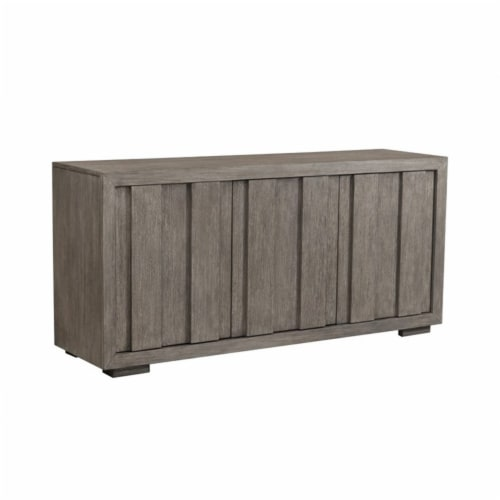 Home Fare Rustic Plank Front 3 Door Storage Console in Weathered Brown Perspective: top