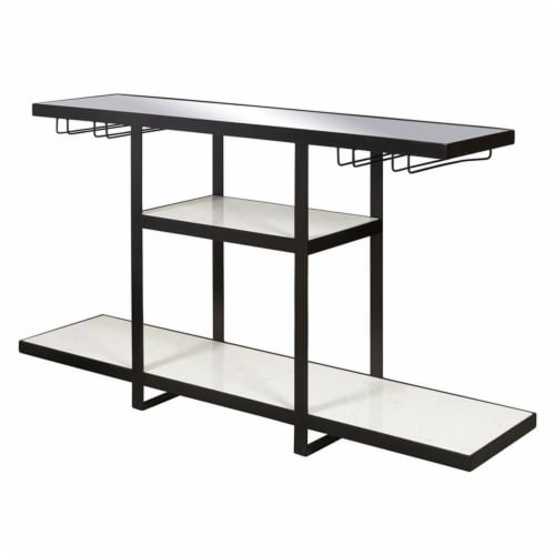 Industrial Metal and Marble Bar with Mirrored Top Perspective: top