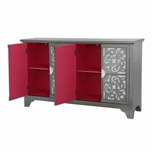 Mirrored Four Door Credenza in Hematite Gray / Fuchsia Pink Perspective: top