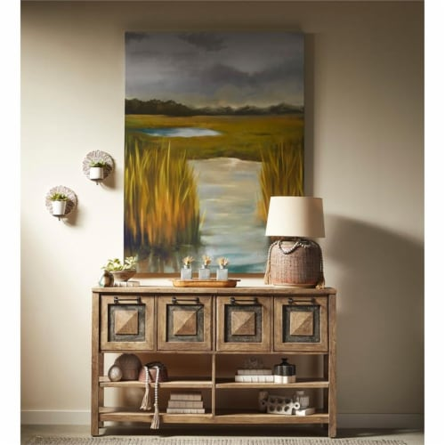 Rustic Brown Stone Inserts Wood Storage Console Table Perspective: top
