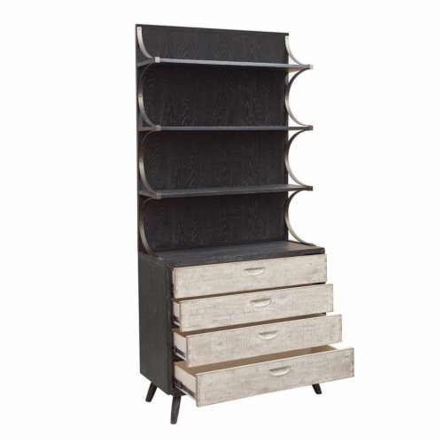 HomeFare Mid Century Wood Buffet & Hutch in Black Perspective: top