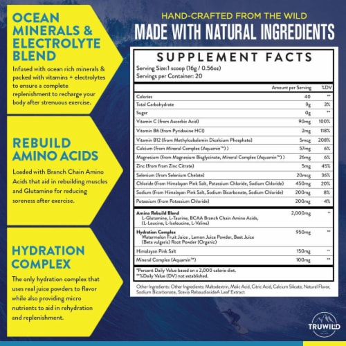 Hydrate Electrolyte + Amino Acids Drink Mix Powder - Natural Lemon & Watermelon Juice Perspective: top