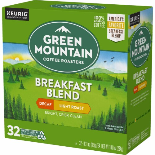 Green Mountain Coffee Roasters Breakfast Blend Decaf Light Roast K-Cup Pods Perspective: top