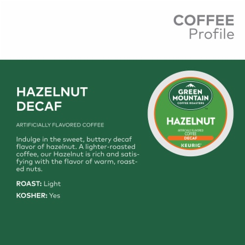 Green Mountain Hazelnut Flavored Decaf Coffee K-Cup Pods Perspective: top