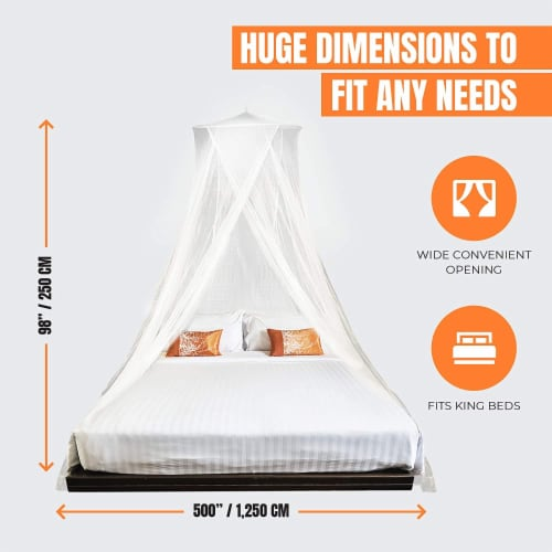 MEKKAPRO Extra-Large King Mosquito Bed Net, Made for King, Queen and Twin Perspective: top