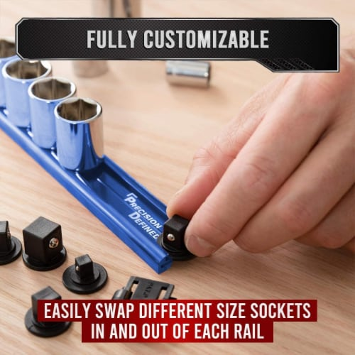 Precision Defined Aluminum Tool Socket Holder | Blue, Single 3/8  x 16 Clips Perspective: top