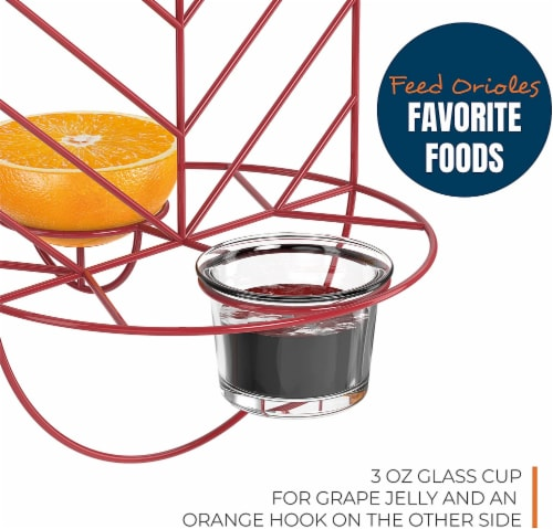 MEKKAPRO Leaf Oriole Bird Feeder, Dual Jelly Orange Feed, Fits Clementine Nectar (Coral Red) Perspective: top