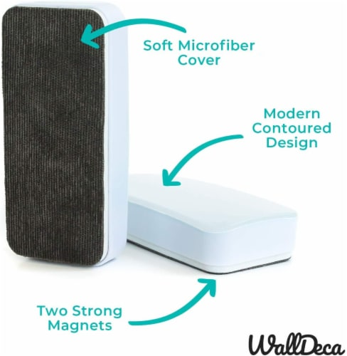WallDeca Magnetic Premium Dry Eraser, Felt Bottom Surface, Made for White Boards (White) Perspective: top