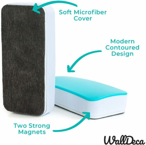 WallDeca Magnetic Premium Dry Eraser, Felt Bottom Surface, Made for White Boards (Teal) Perspective: top