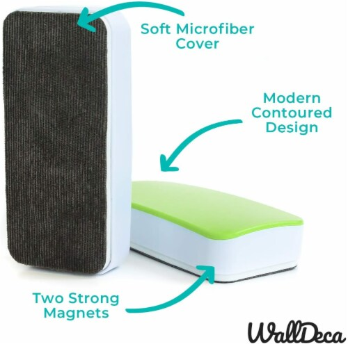 WallDeca Magnetic Premium Dry Eraser, Felt Bottom Surface, Made for White Boards (Green) Perspective: top