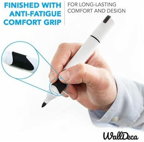 WallDeca Black Low-Odor Dry Erase Markers, Bullet Tip, 12-Count, Comfort Grip Perspective: top