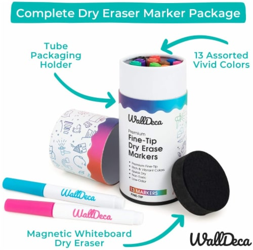 WallDeca Low-Odor Dry Erase Markers, Fine Tip, Assorted 13 Colors, Whiteboard Marker Pens Perspective: top