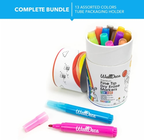 WallDeca Dry-Erase Thick Fine Line Markers, 13 Assorted Colors, Non-Toxic Art Tools for Kids Perspective: top
