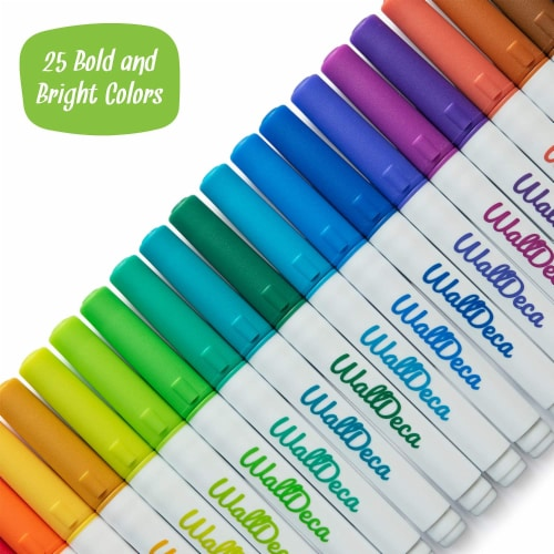 WallDeca Low-Odor Dry Erase Markers, 25 Colors, Fine Tip, Whiteboard Marker Pens Erasable Perspective: top