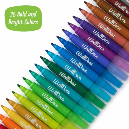 WallDeca Dry-Erase Thick Fine Line Markers, 25 Assorted Colors, Non-Toxic Art Tools for Kids Perspective: top