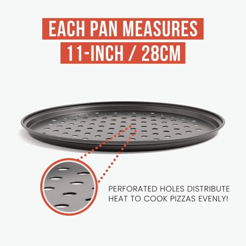 Chef Pomodoro Pizza Baking Set with 3 Pizza Pans and Pizza Tray, Non-Stick, for Oven Perspective: top