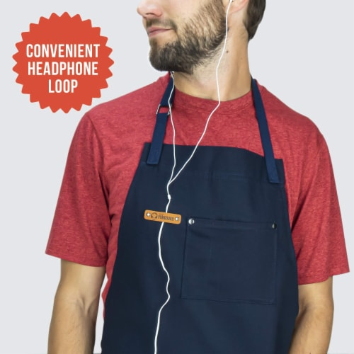 Chef Pomodoro Kitchen Apron- Adjustable Pockets, Bibs - Designed for Home, BBQ, Grill Use Perspective: top