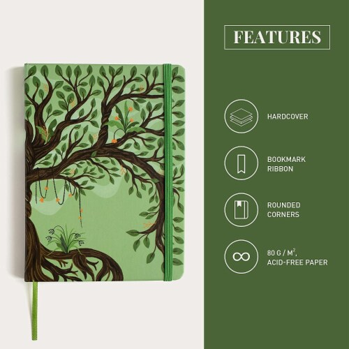 Rileys Tree of Life Journal Notebook, 8  x 6 , Unlined 120 Pages, Ivory Paper Perspective: top