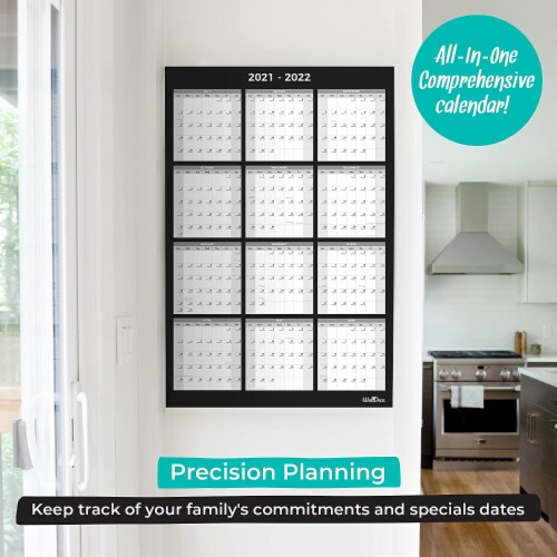 Large Annual Erasable Laminated Wall Calendar, 24 x 36 Inch, 2-Sided Reversible Perspective: top