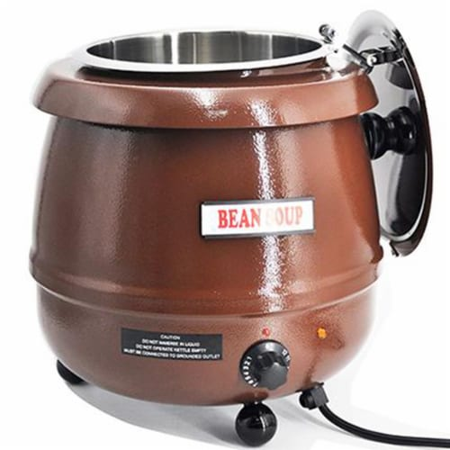 Sybo 10.5 Quart Electric Soup Warmer Commercial Crock Pot with Hinged Lid, Brown Perspective: top