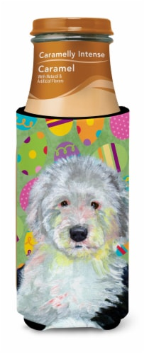 Old English Sheepdog Easter Eggtravaganza Ultra Beverage Insulators for slim can Perspective: top